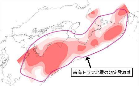 南海トラフ沿いに蓄積するひずみの分布_海上保安庁提供